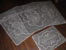 ROMANY WASHABLES NON SLIP MATS SUPER THICK XNEWX DESIGN FULL SET 4PC SILVER/GREY